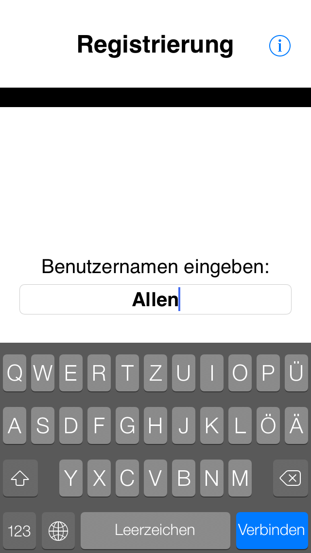 iOS Screenshot Registrierung